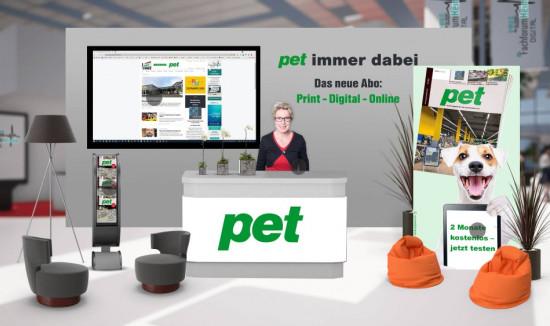 """Auch pet ist mit einem Stand vertreten und präsentiert das neue Abo-Angebot """"Print-Digital-Online""""."""